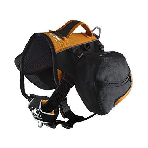 Kurgo Dog Saddlebag Backpack | Back Pack Dog Harness | Hiking Pack for Dogs | Packs for Pets to Wear | Camping & Travel Vest Harness | Reflective | Lightweight | Big Baxter Pack (Black/Orange), Big Baxter- 50-110 lb dogs