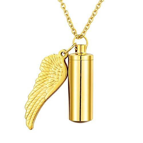 HooAMI[ホーアムアイ] メモリアルペンダント 遺骨カプセル ネックレス キーホルダー両用 ステンレス レディース メンズ ジュエリー 天使の翼 ゴールド-3.7cmx1.1cm