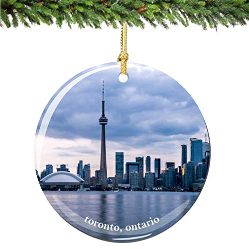 City-Souvenirs Toronto Ontario Canada Christmas Ornament Porcelain Double Sided 2.75 Inches