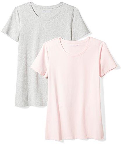 Amazon Essentials Women's 2-Pack Classic-Fit Short-Sleeve Crewneck T-Shirt, Light Pink/Light Grey...