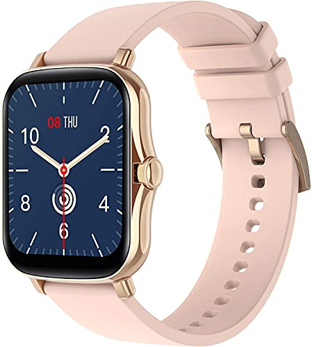 [2021] Orologio Smartwatch 1.69  Impermeabile fitness tracker Cardiofrequenzimetro Uomo Donna con Saturimetro Monitoraggo sonno Notifiche Messaggi Contapassi Cronometro per Android e iOS (Gold Pink)