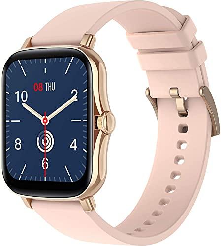 [2021] - Reloj inteligente de 1,69 pulgadas, impermeable, para hombre y mujer, con saturímetro, medición de la presión arterial, monitor de sueño, funciones deportivas para Android e iOS (rosa dorado)