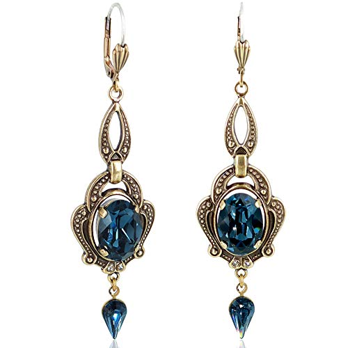 Jugendstil Ohrringe Gold Blau mit Kristallen von Swarovski® NOBEL SCHMUCK