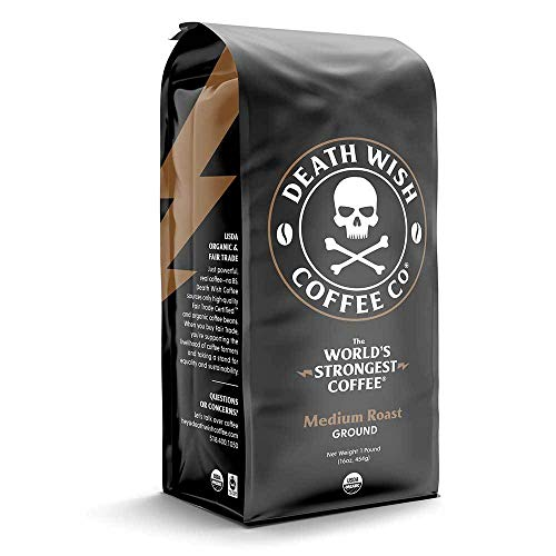 Death Wish Coffee Company's Ground Coffee [1-pack/bag, 1 lb] | The World's Strongest Medium Roast | USDA Certified Organic, Fair Trade | Arabica and Robusta Beans | A Lighter Shade of Bold