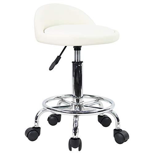 KKTONER Rollhocker Bürostuhl Drehstuhl, höhenverstellbarer, Drehhocker mit niedriger Rückenlehne und Fußstütze, aus PU Leder Weiß