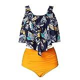 Bikinis Ruffle Swimsuit Woman Push Up Bikini de Cintura Alta Set Biquinis Solid Swimwear Women Plus Size Traje de baño...