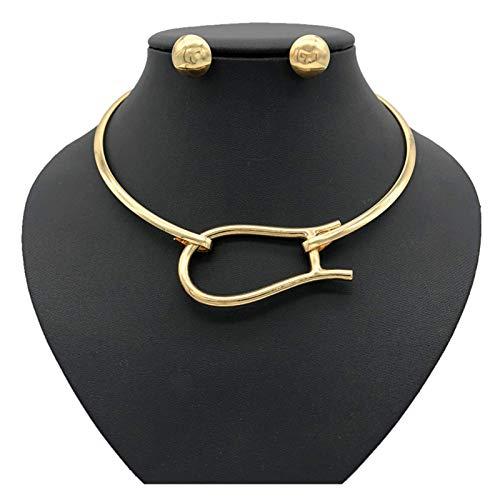 Collar delicado para mujer Mujeres África Tribe Collar Collar de cadena de clavícula - Punk Rock Gothic O-Ring Gargantilla - Ajustable Cintura Cintura Cinturón Arnés Cuerpo Joyería ( Color : Gold )