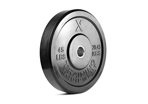 X Training Equipment Premium Black Bumper Plate Solid Rubber with Steel Insert - Great for Crosstraining Workouts (45lb Single)