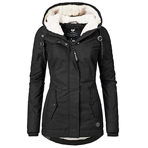 Women's Winter Heavy Sherpa Lined Warm Coat Classic Hooded Parka Jacket Military Anorak Jacket Outwear(Black, S)
