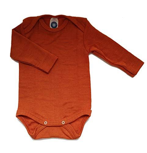 Cosilana Babybody Langarm 71053 Wolle/Seide (Orange, 62/68)