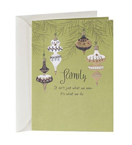 Hallmark Christmas Card for Relative (Gold Ornaments)