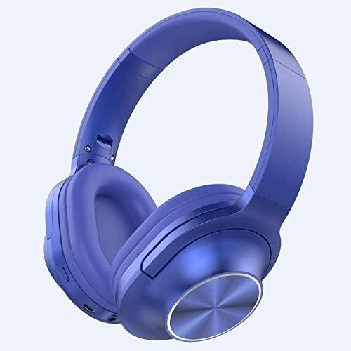 KK Zachary Auricular Inalámbrico Bluetooth Micrófono Plegable Juego Contrabajo Auricular Estéreo Azul (Color : Blue)