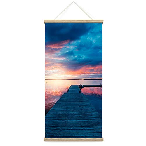 """Bestdeal Depot Hanging Poster Sun Setting into the Ocean III Coastal Multicolor Photography Relax/Calm Romantics Sunset Canvas Prints Wall Art for Living Room, Bedroom - 18""""x36"""""""