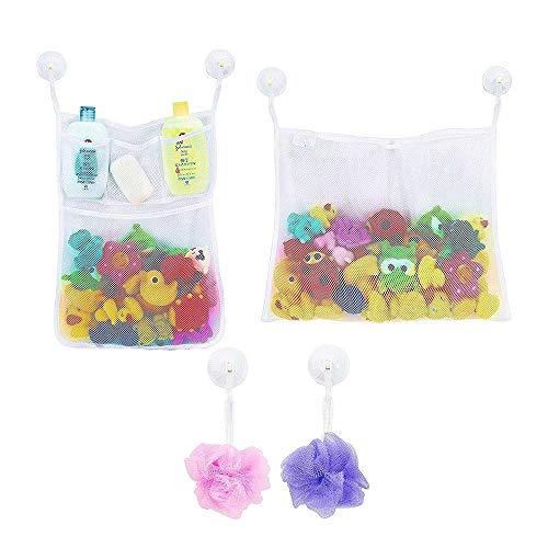Zueyen 2 piezas de almacenamiento de juguetes de baño, red organizadora con 6 ganchos adhesivos, organizador de juguetes de baño de bebé, bolsa organizadora de juguetes para baño