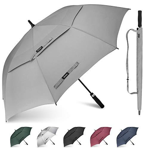 Gonex Sturmfest Golf Regenschirm 62 Zoll Groß XXL, UV-Schutz, Automatischer Offener Regenschirm mit Winddichtem, Wasserabweisendem Doppelverdeck, Eva-Griff,für 2-7 Männer, Grau