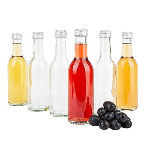 MamboCat 6-delige set Bordeaux fles helder + zilveren schroefdeksel I 250 ml I lege glazen fles voor het vullen van wijn, likeur en sterke drank I kleine drinkfles rond