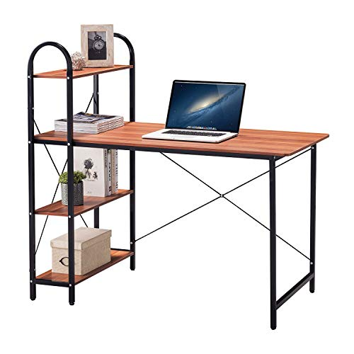 HOME BI Computer Desk with Shelves, Writing Desk for Home Office, Student Desk with 4 Tier Bookshelves, Multipurpose PC Wood Workstation, Brown