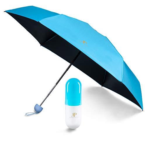 ADRIANO PORCARO® - Regenschirm - Taschenschirm - Mini Regenschirm – klein, leicht & kompakt - UV undurchlässig inkl. Schirm-Tasche & Reise-Etui (Hellblau)