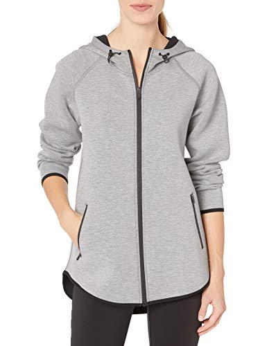 Amazon Essentials Women's Longer Length Tech-Sport Knit Full-Zip Hooded Jacket, Light Grey Heather, Medium