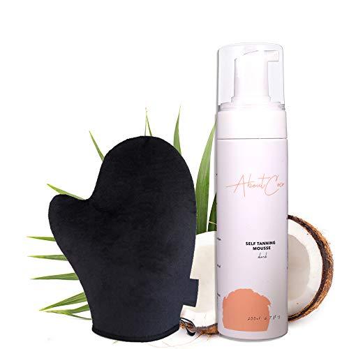 AboutCoco 200ml Self Tanning Mousse inkl. Applikatior-Handschuh, Selbstbräunungs-Mousse, Ohne Sonne zur gesunden natürlichen Bräune