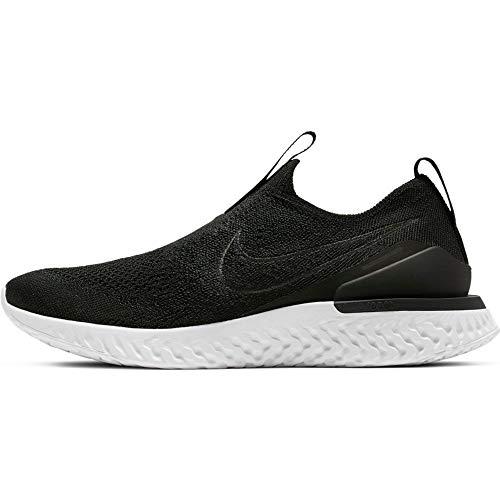 Nike Women's Epic Phantom React Flyknit Running Shoes (8.5, Black/Black-White)