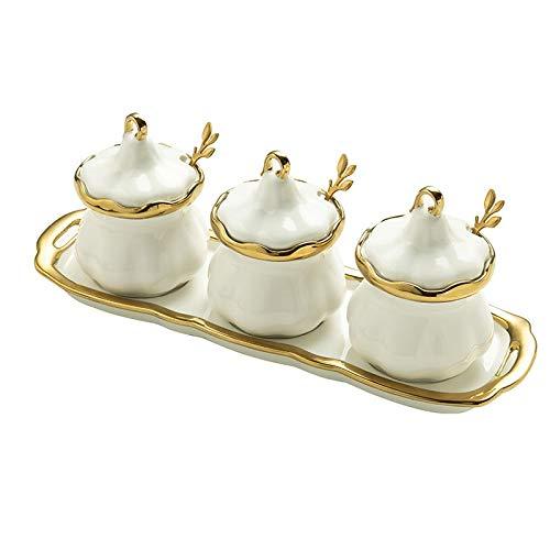 ZYING Contenitore per Spezie in Ceramica Bianca Phnom Penh La Cucina Domestica Fornisce Un Barattolo di Spezie A Tre Pezzi con Scatola per Condimento A Cucchiaio
