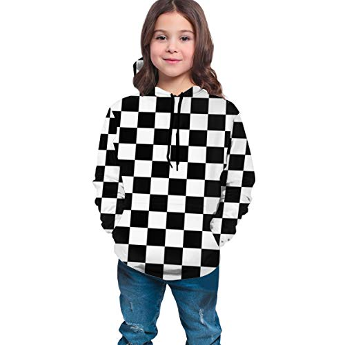 YongColer Teen Boys Girls Hoodies with 3D Print Graphic Colorful Deisgn Sweatshirt for Kids with Pocket, Checkerboard, M