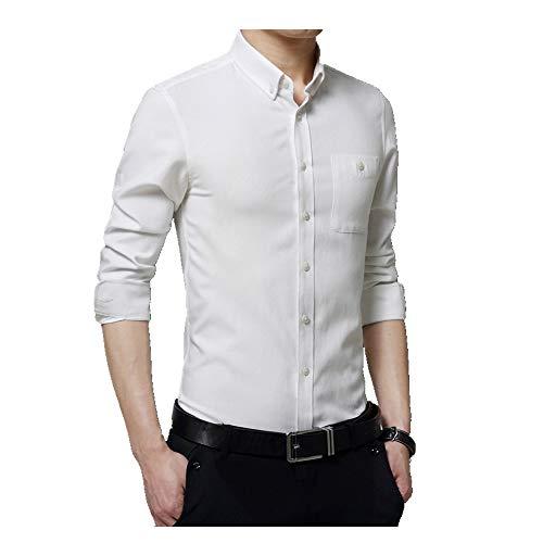 NOBRAND Casual Fit Herren Hemd Langarm Casual Herren Inch Shirt Professional Formal Shirt Neu Gr. 58, weiß
