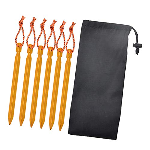 F Fityle 6Pieces Tent Stakes 7001 Heavy Duty Aluminum Metal Ground Pegs - Perfect to Stake Down A Tarp and Tents Best Easy Lightweight Outdoor Camping Spikes - Yellow