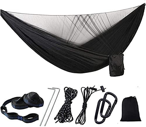 RVTYR Hamaca portátil con mosquitero, ligera hamaca doble para interiores, exteriores, senderismo, camping, comodidad y durabilidad, color negro (color: negro)