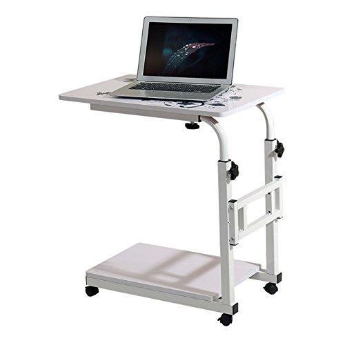 Dongy Laptop Tafelstandaard, draagbaar rond bureau dienblad tafel voor bed sofa, bijzettafel mobiel in hoogte verstelbaar bureau met truley, zwart, wit