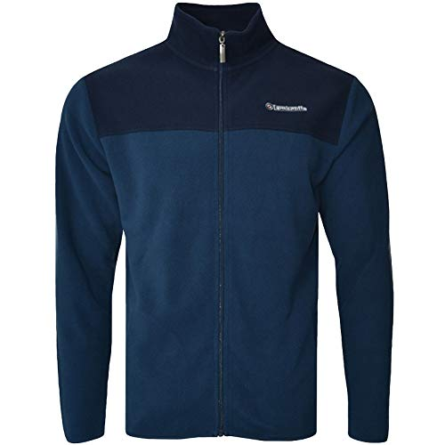 Lambretta Mens Full Zip Polar Fleece Two Tone Jacket - Denim Navy - S