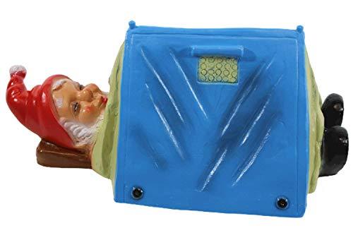 Gartenzwerg Deko Garten Figur Zwerg Camper liegend im Zelt schlafend aus Kunststoff H 14 cm