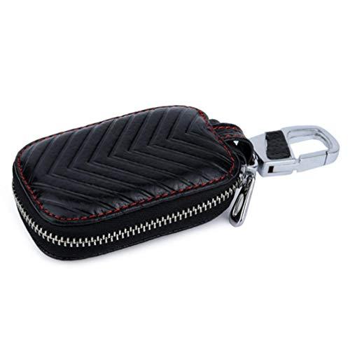 Leder Autoschlüssel Tasche Geldbörse Schlüsseltasche,mit Reißverschluss ,Schlüsselanhänger Münzen Geldbeutel -schwarz