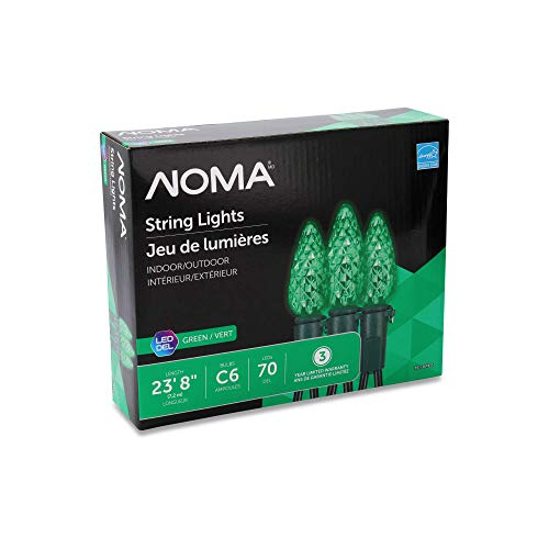 NOMA C6 LED Christmas Lights | 70 Green Bulbs | 23.8 Ft. String Light | UL Certified | Indoor & Outdoor