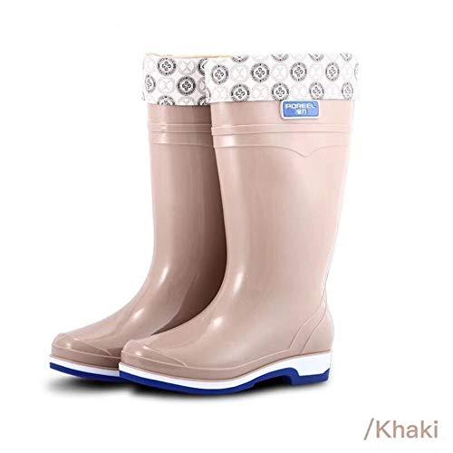 HRFHLHY Hochhackige Regenstiefel, weibliche Regenstiefel, Rutschfeste Sehnenbodenstiefel,Beige,40