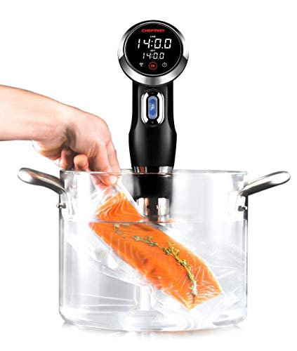 Chefman Sous Vide Immersion Circulator w/ Wi-Fi, Bluetooth & Digital Interface, Touchscreen Display, Sous-Vide Cooker Includes Connected App for Guided Cooking, Adjustable Clamp, 1100 Watts, Black