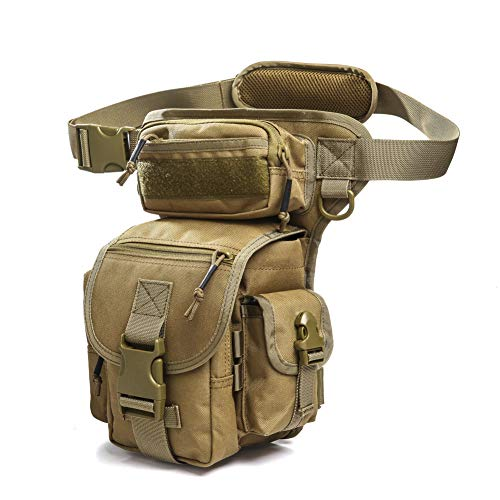 ANTARCTICA Multifunctional Drop Leg Bag Tactical Military Thigh Hip for Motorcycling Hiking Traveling Fishing (Tan Brown)