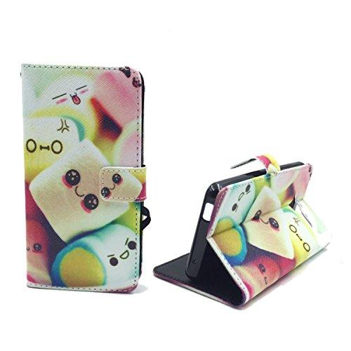 König Design Handyhülle Kompatibel mit ZTE Blade L3 Handytasche Schutzhülle Tasche Flip Case mit Kreditkartenfächern - Marshmallows