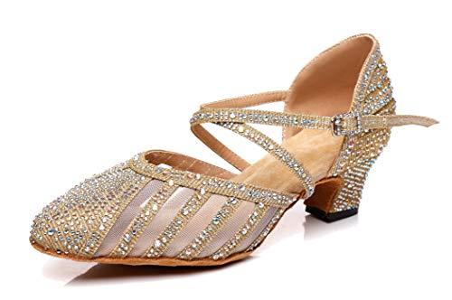 Minitoo L403 Chaussures de danse sociale pour femme avec strass et strass - Or - Baby Gold., 38.5 EU