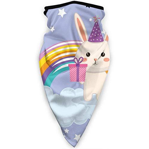 Huapart Hals Gamasche Staub Sonnenschutz Gesichtsschutz Sturmhaube Gesichtsmaske Nettes Kaninchen Mit Regenbogen Kawaii Geburtstagskarte