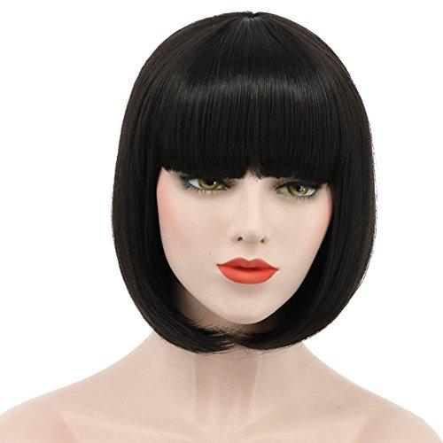 Karlery Women Short Straight Bob Fasion Wig Flat Bangs Cosplay Party Wig Costume Halloween Wig (Black)