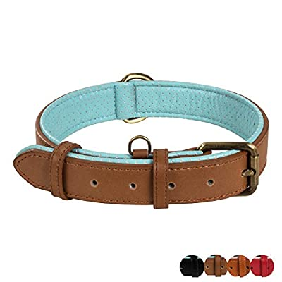 Poohoo Genuine Leather Dog Collar Soft & Breathable Padded | Brass Hardware Rust-Proof | Heavy Duty | Dog Tag Ring | for Medium Large X-Large Dogs (Large, Brown)