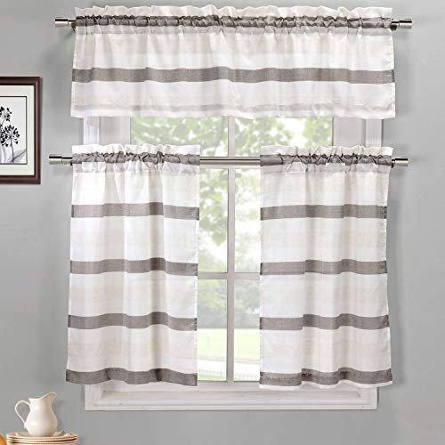 Duck River Textile 3 PC. Faux Silk Striped Kitchen Curtain Tier & Valance Set | Small Window Curtain for Cafe, Bath, Laundry, Bedroom
