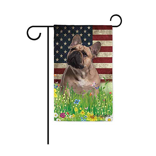 BAGEYOU Cute Puppy Frenchie Garden Flag Lovely Pet Dog American US Flag Wildflowers Floral Grass Spring Summer Decorative Patriotic Banner for Outside 12.5x18 inch Printed Double Sided