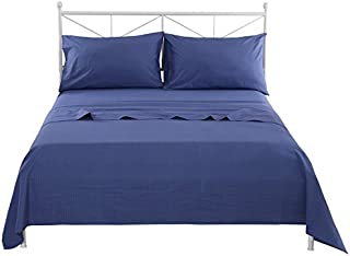 SINOLINK HOME 100% Cotton Premium Quality Seersucker Solid Blue Bedding Sheet Set 4 Piece Set Including 1 Flat Sheet+1 Fitted Sheet +2 Pillow Cases - Queen Size