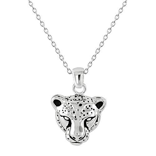 Dew Sterling Silver Leopard Head Oxidised Pendant 9757OX028