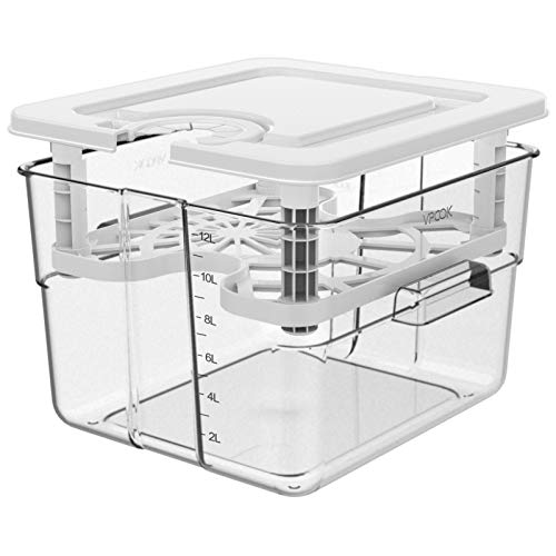 Sous Vide Container for Anova Culinary Anova Nano Joule Instant Pot, 12.6 Qt Sous Vide Containers with Lid and Rack Sous...
