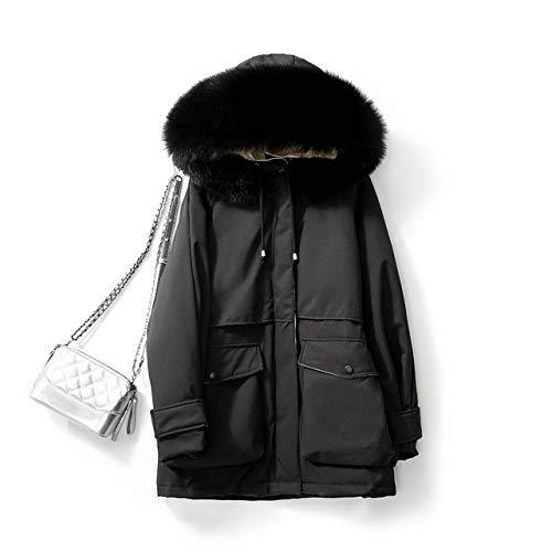 DPKDBN donsjack, stijl rits design witte eenden dames donsjack met capuchon, eenkleurig en met verdikte stof