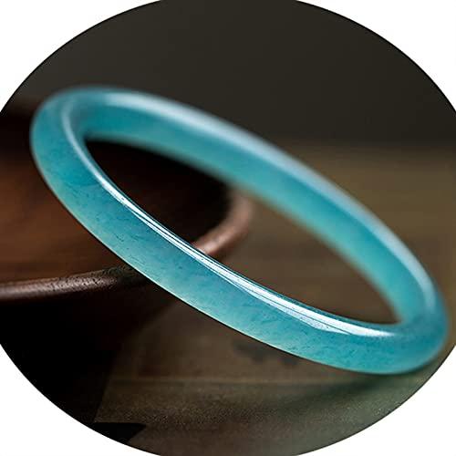 J.Memi's Calcedonia Azul Piedra Pulsera, Piedra De Cuarzo Natural Cuff, Elegante Hecho A Mano Joyería De Protección para Novia, Madre Regalo,62~63mm